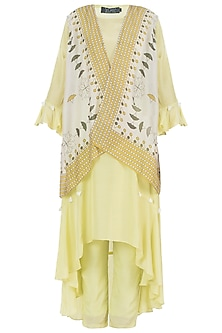 Yellow Kurta With Pants And Jacket