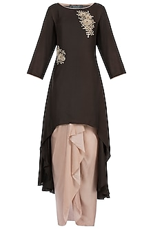 Brown Embroidered Jacket With Skirt by Soup By Sougat Paul