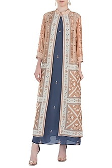 Blue Maxi Dress With Jacket by Soup By Sougat Paul