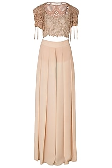 Mauve Embroidered Bustier and Bolero  Jacket with Palazzo Pants.<br />