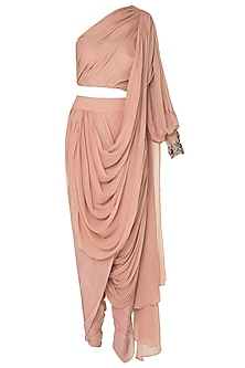 Onion Pink One Shoulder Dhoti Saree by Sonaakshi Raaj