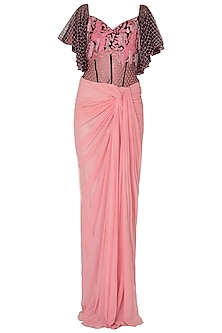 Baby Pink Off Shoulder Saree Gown