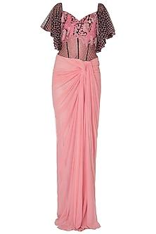 Baby Pink Off Shoulder Saree Gown