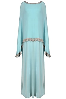 Icy Blue Straight Gown and Beads Embroidered Cape Set