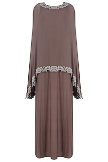 Brown Straight Gown and Beads Embroidered Cape Set by Sonaakshi Raaj