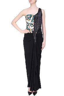 Grey and Black Floral Work and Tassel Fringes One Shoulder Gown by Sonaakshi Raaj