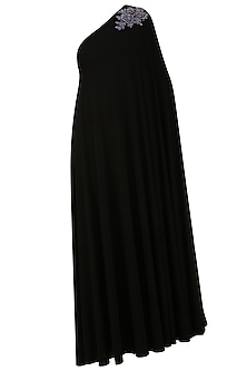 Black Embroidered Rose Motifs One Shoulder Flowy Gown by Sonaakshi Raaj