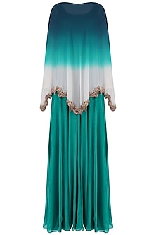 Teal Green Straight Gown and Beads Embroidered Cape Set by Sonaakshi Raaj