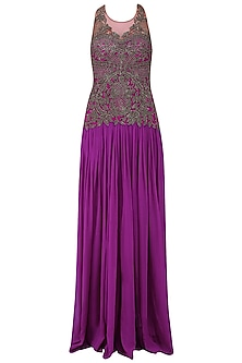 Plum Gunmetal Beads Embroidered Palazzo Jumpsuit