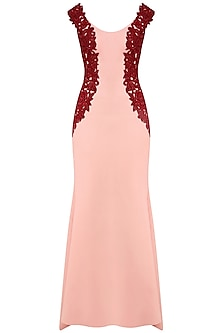 Blush Pink and Red Floral Beads Work Fish Cut Gown