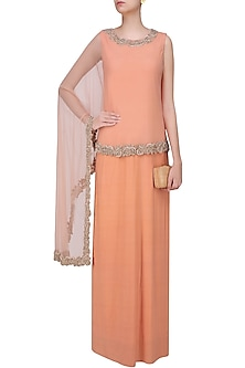 Pink Straight Gown and Beads Embroidered Cape Set by Sonaakshi Raaj