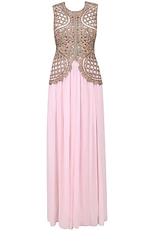 Baby Pink Cutwork Pearl Embroidered Palazzo Jumpsuit