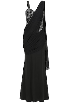 Black Saree Gown In Lycra and Cotton Satin