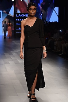 Black One Shoulder Blazer Draped Gown