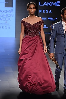 Wine Embroidered Off Shoulder Flounce Gown