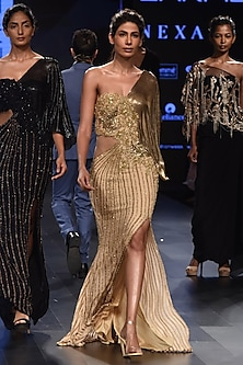 Gold One Shoulder Fitted Mesh Sleeves Gown