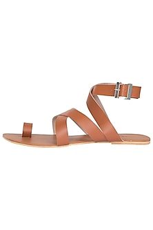 Tan Criss Cross Ankle Sandals by Sole Stories