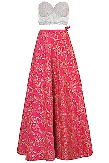 Grey Embellished Bustier with Hot Pink Lehenga Skirt Set