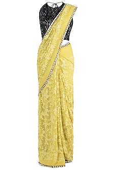 Lemon Yellow Embroidered Saree with Blouse