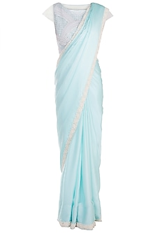 Sky Blue Embroidered Saree with Blouse