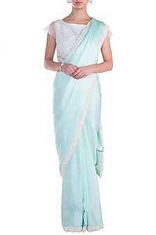 Sky Blue Embroidered Saree with Blouse by Soshai
