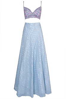 Sky Blue Embroidered Lehenga Set