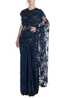 Dark Blue Embellished Half and Half Saree with Blouse by Soshai