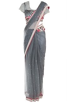 Grey Applique Saree with Blouse