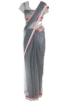 Grey Applique Saree with Blouse by Soshai