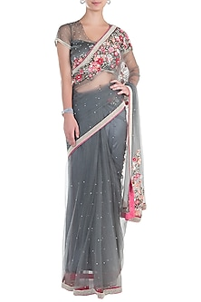 Grey Applique Saree with Blouse by Soshai