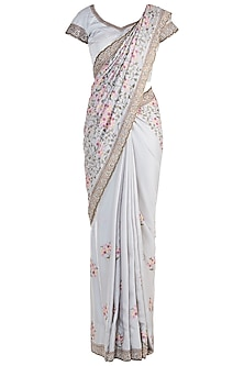Antique Grey Embroidered Saree with Blouse