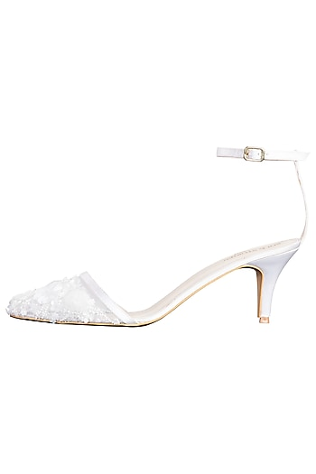 White embroidered heels by SOLE STORIES