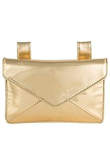 Gold metallic envelope ket bag by SOLE STORIES