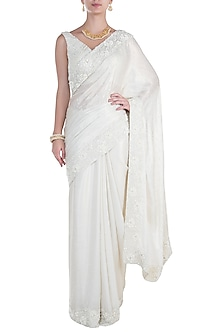 White Pearl Embroidered Saree with Blouse by Soshai