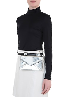 Silver metallic envelope ket bag