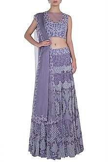 Lilac Embroidered Lehenga Set by Soshai
