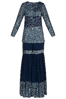 Mid-Night Blue Embroidered Sharara Set