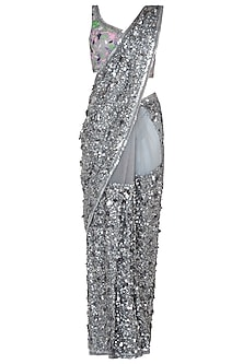 Silver Embroidered Saree with Blouse