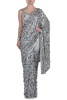 Silver Embroidered Saree with Blouse by Soshai