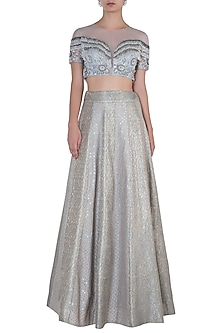 SILVER EMBROIDERED LEHENGA SET by SOSHAI