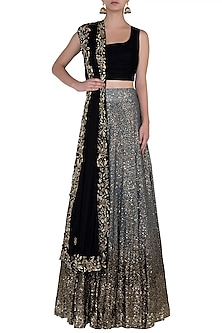 Black and Gold Embroidred Lehenga Set by Soshai