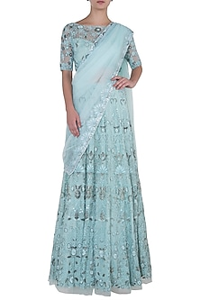 Pastel Turquoise Embroidered Lehenga Set by Soshai
