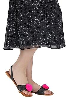 Black Pom Pom Embellished Sandals