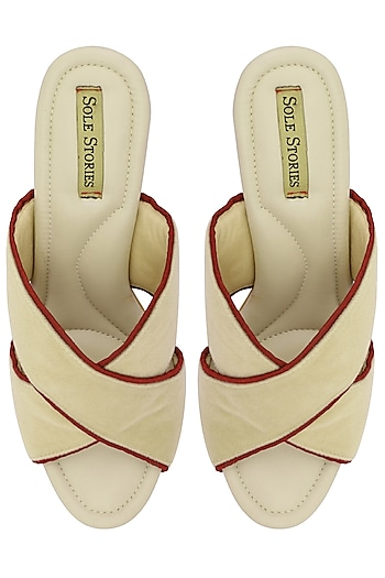Off White and Red Thread Embroidered Block Heels by Sole Stories