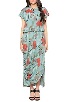 Blue Printed Drape Maxi Dress by Sous