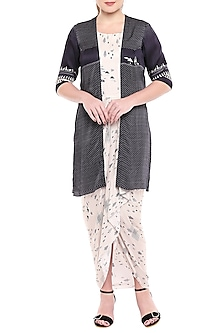 Black Jacket With Printed Drape Dress by Sous