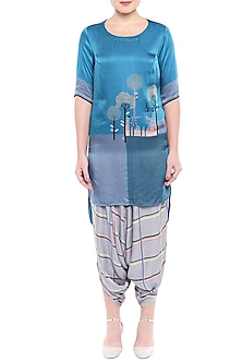 Blue Printed High-Low Kurta With Dhoti Pants by Sous