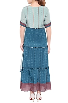 Blue Printed Maxi Dress by Sous