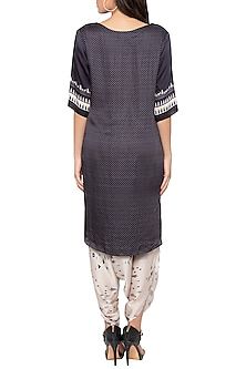 Black Printed High-Low Kurta With Dhoti Pants by Sous