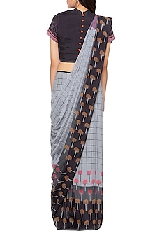 Grey & Black Printed Drape Saree Set by Sous